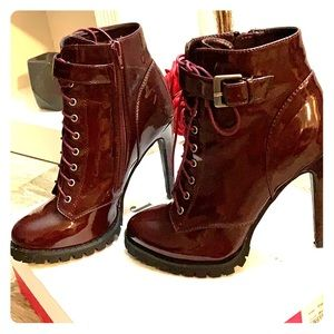 Burgundy Patent Leather Lace Up Ankle Boots